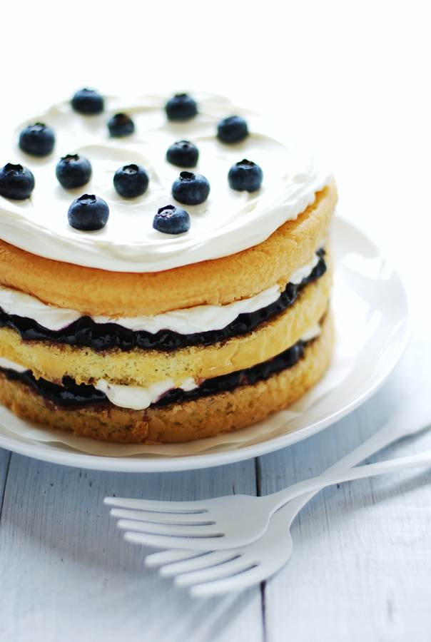 Blueberry Cream Cake Recipe — Dishmaps